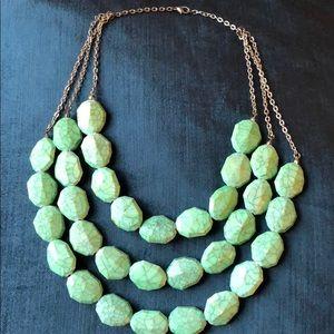 Costume Jewelry | Three Strand Turquoise Necklace